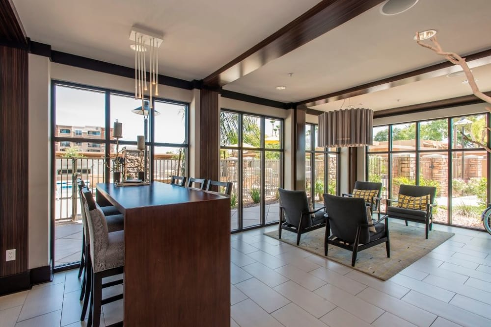 Leasing office interior at Luxe Scottsdale Apartments in Scottsdale, Arizona