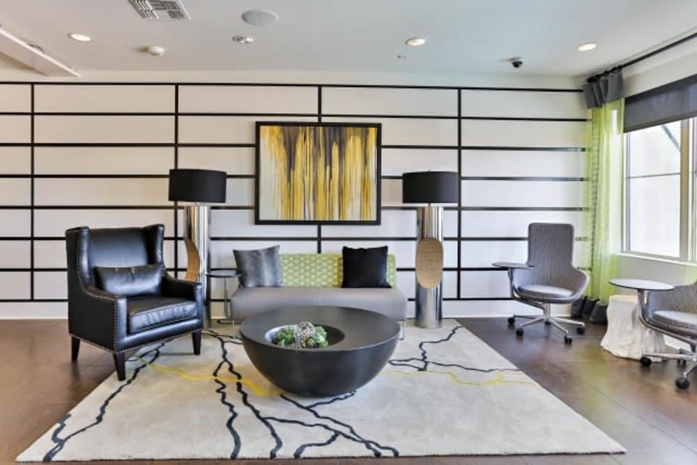 Stylish sitting area in clubhouse at Luxe Scottsdale Apartments in Scottsdale, Arizona