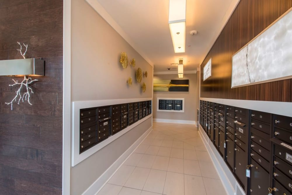 Mailroom and parcel pick up center at Luxe Scottsdale Apartments in Scottsdale, Arizona