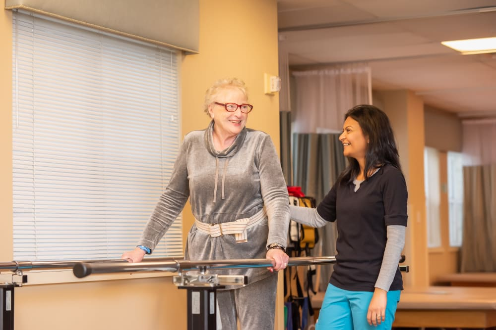 A resident getting rehab at Mission Healthcare at Bellevue in Bellevue, Washington.