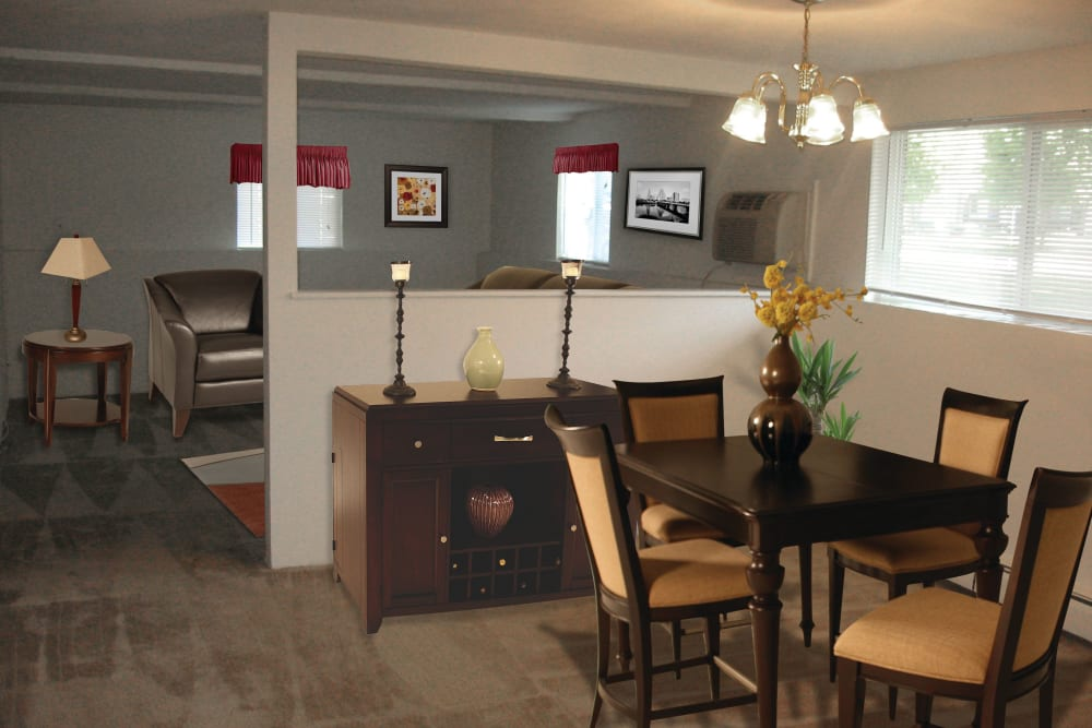 Dining nook in model home at The Village at Marshfield in Marshfield, Massachusetts