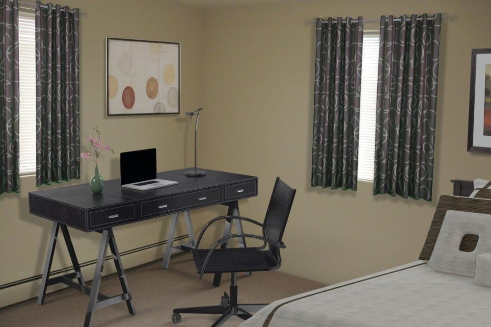 Office nook in bedroom at The Village at Marshfield in Marshfield, Massachusetts