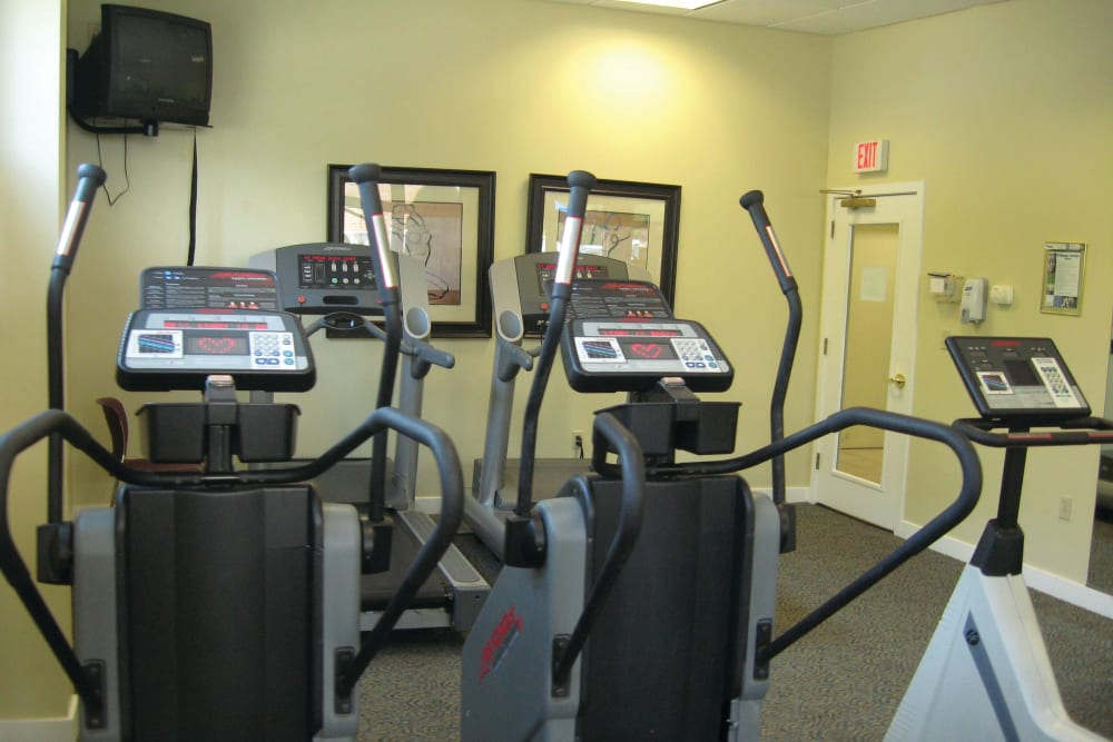 Elliptical machines in fitness center at The Village at Marshfield in Marshfield, Massachusetts