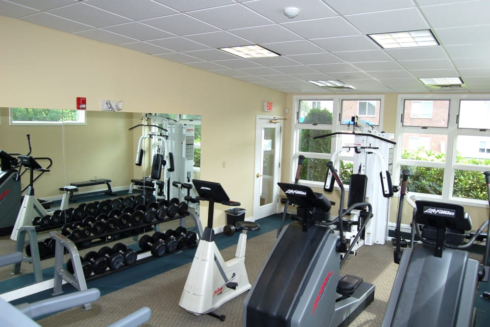 Individual workout stations in the fitness center at The Village at Marshfield in Marshfield, Massachusetts