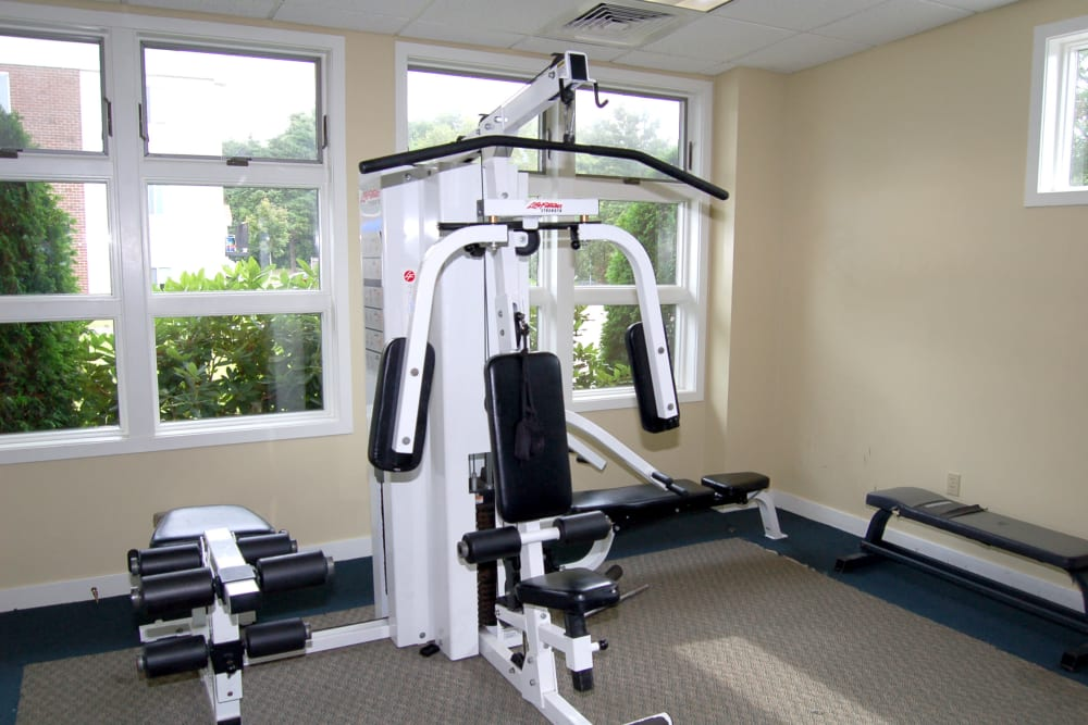 Weight machines in the fitness center at The Village at Marshfield in Marshfield, Massachusetts