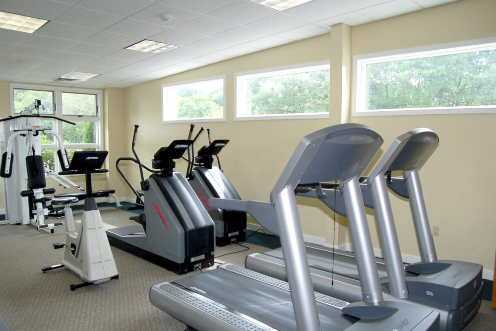 Treadmills included in the fitness center at The Village at Marshfield in Marshfield, Massachusetts