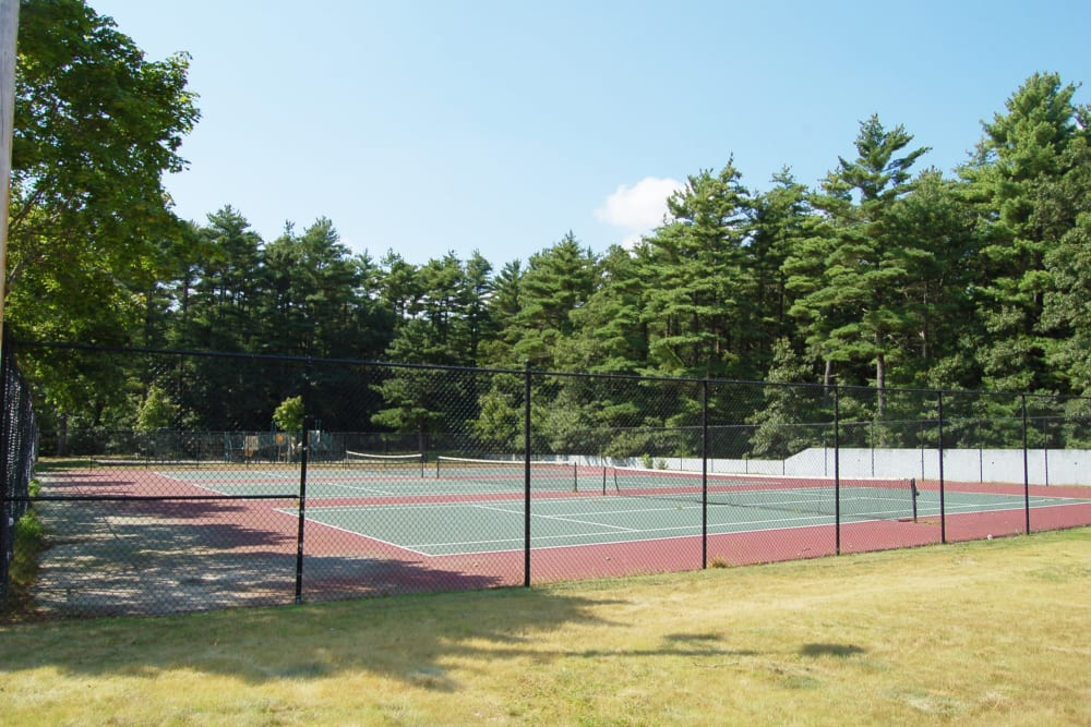 Tennis courts for residents at The Village at Marshfield in Marshfield, Massachusetts