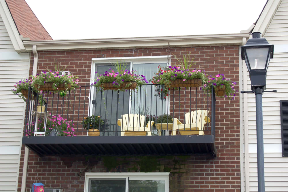 Balcony with seating at The Village at Marshfield in Marshfield, Massachusetts
