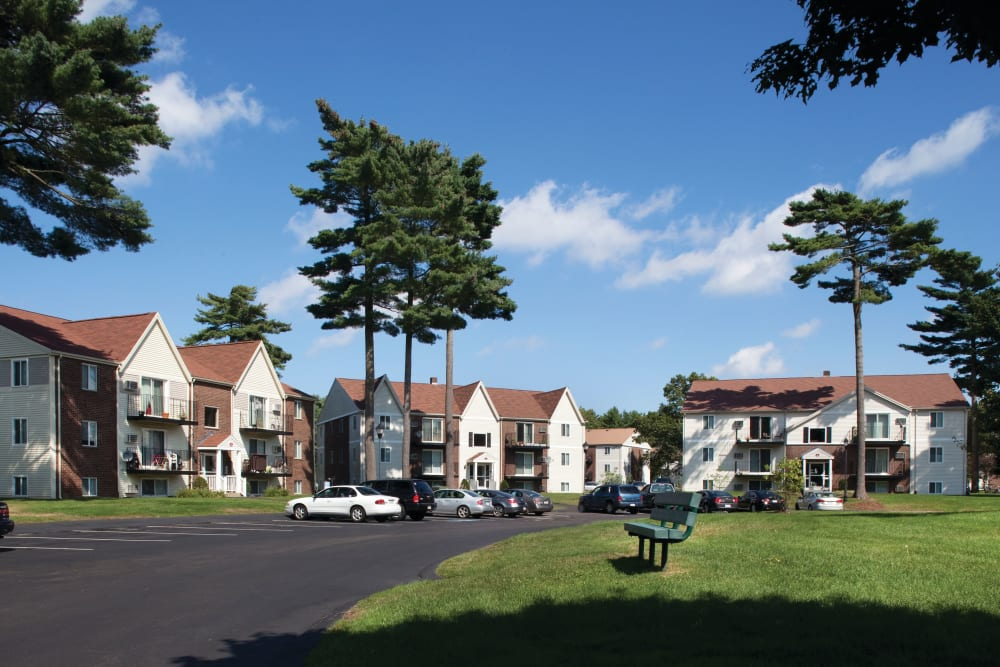 View of driveway leading up to units at The Village at Marshfield in Marshfield, Massachusetts
