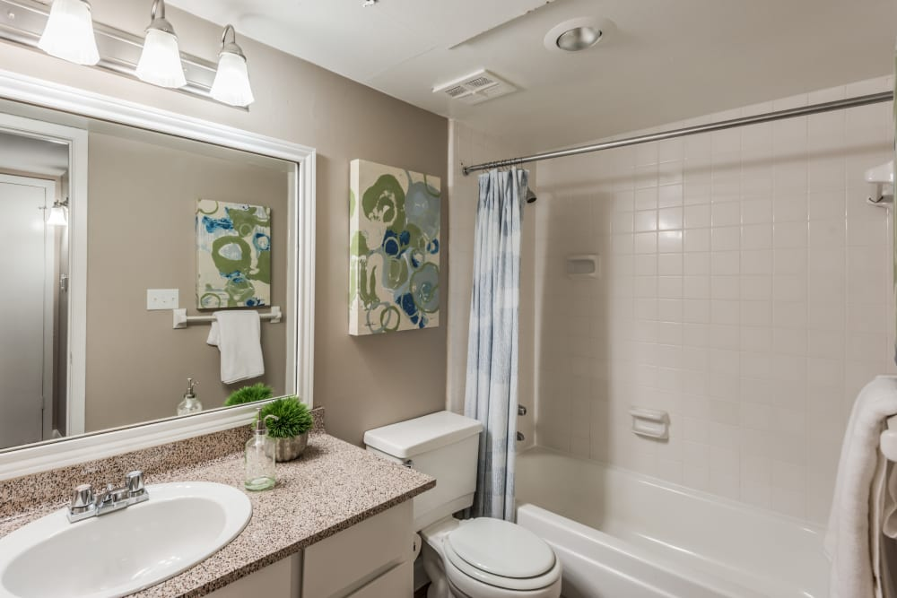 Bathroom with oval tub and large vanity mirror at The Villages at Meyerland in Houston, Texas