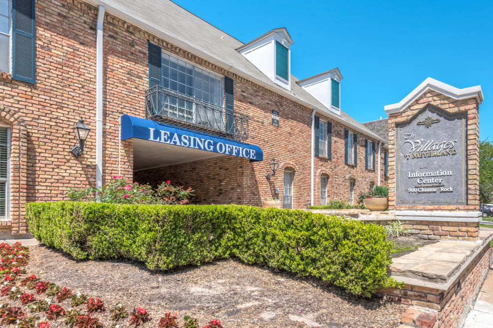 Leasing office exterior at The Villages at Meyerland in Houston, Texas