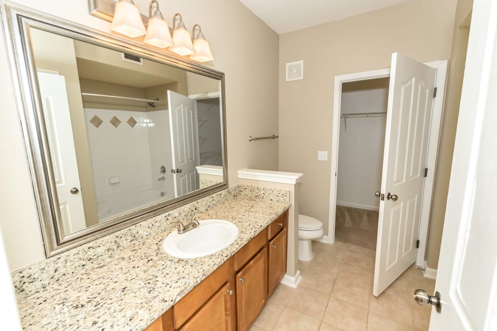 Large model bathroom with granite countertops at Vista 121 Apartment Homes in Lewisville, Texas