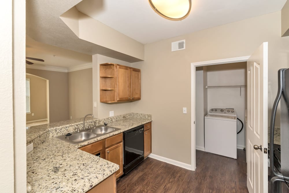Another view of the spacious model kitchen at Vista 121 Apartment Homes in Lewisville, Texas