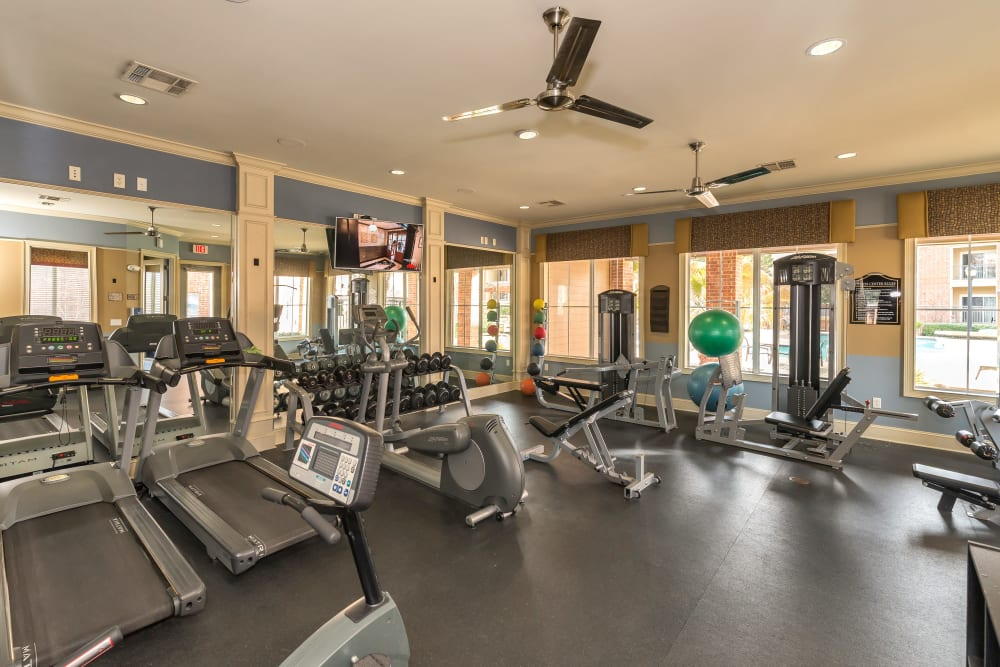 Large on-site fitness center at Vista 121 Apartment Homes in Lewisville, Texas