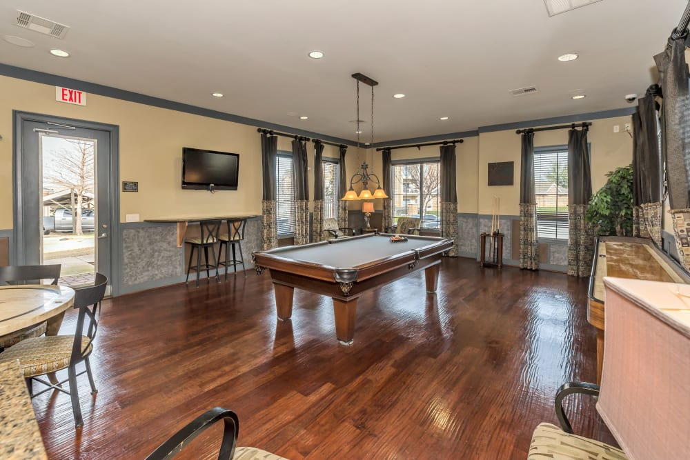 Pool table in the clubhouse at Vista 121 Apartment Homes in Lewisville, Texas