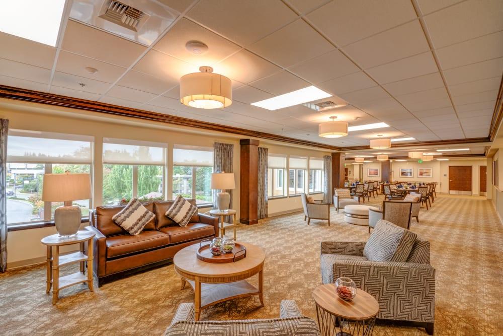 Spacious lobby with big windows at Mission Healthcare at Renton in Renton, Washington.
