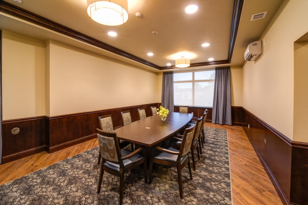 A private dining room at Mission Healthcare at Renton in Renton, Washington.