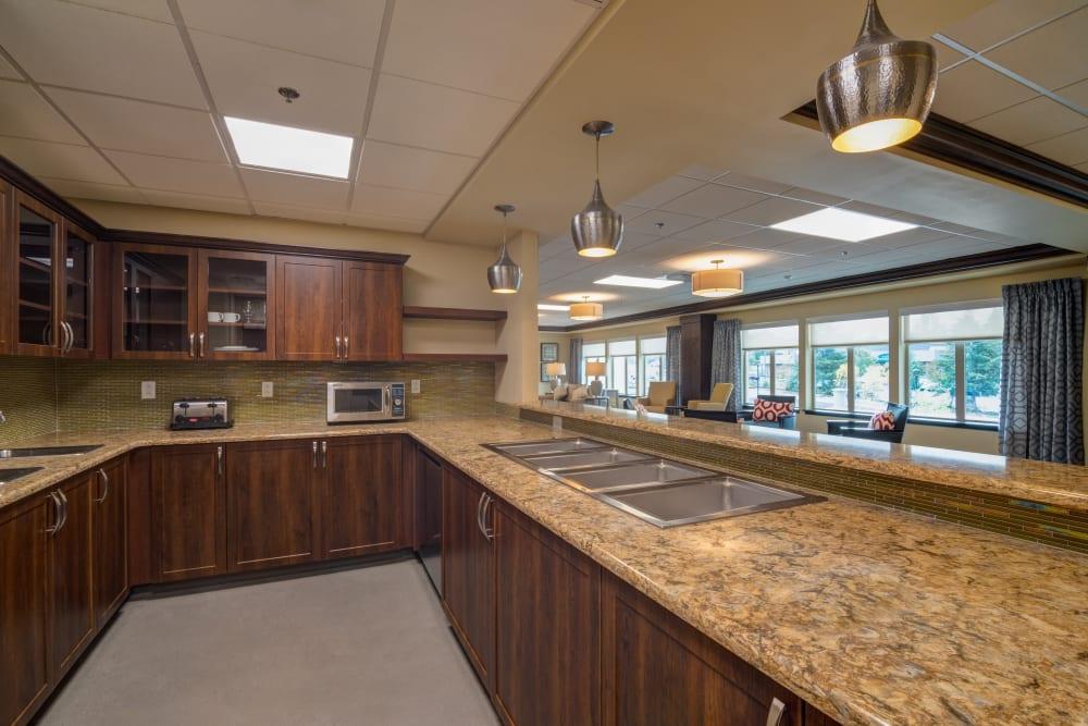 Community kitchen at Mission Healthcare at Renton in Renton, Washington.