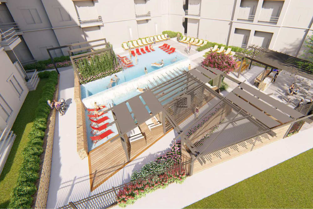 Rendering of the main courtyard and swimming pool area from an upper floor at Magnolia on the Green in Allen, Texas