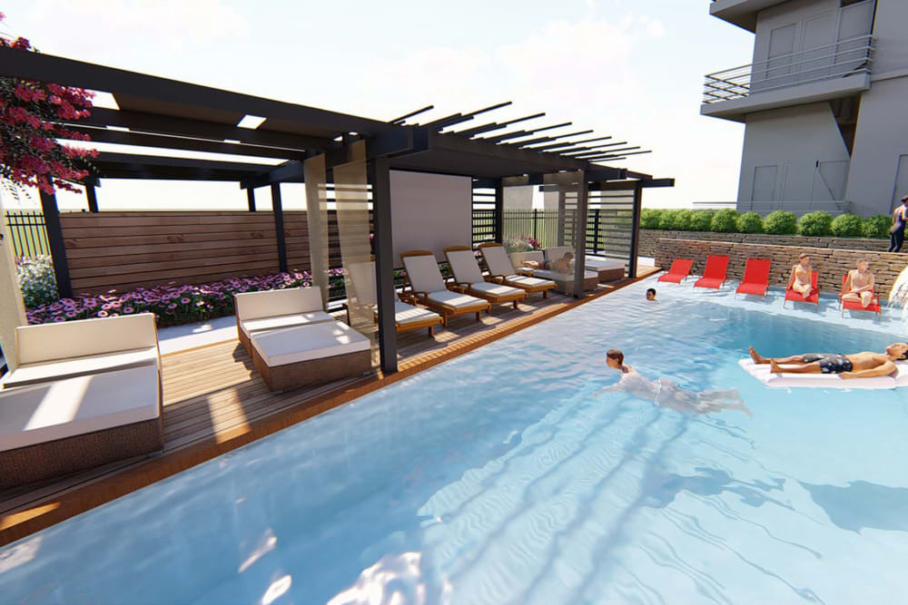 Rendering of residents enjoying the pool at Magnolia on the Green in Allen, Texas