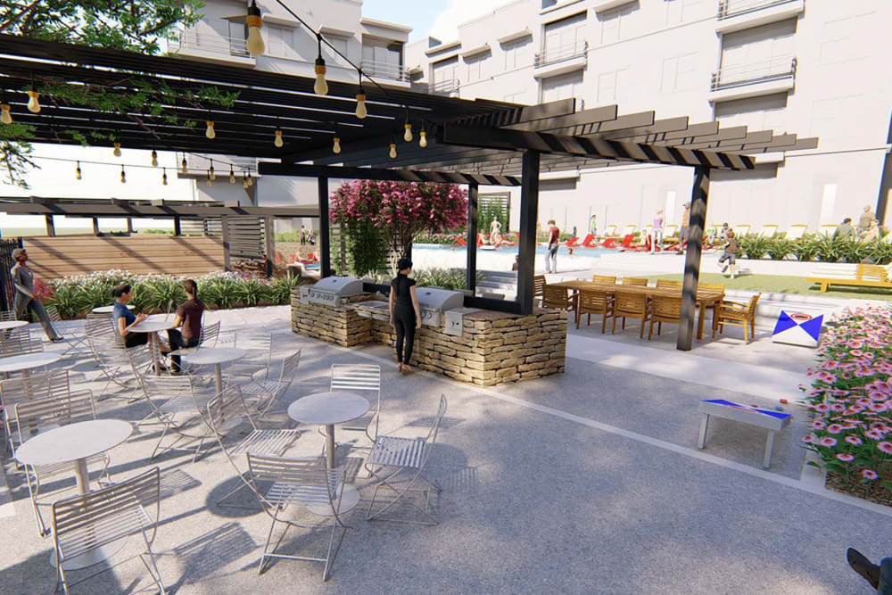 Rendering of the fire pit area in the afternoon at Magnolia on the Green in Allen, Texas