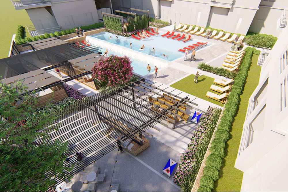 Rendering of the pergola over the fire pit area from an upper floor at Magnolia on the Green in Allen, Texas
