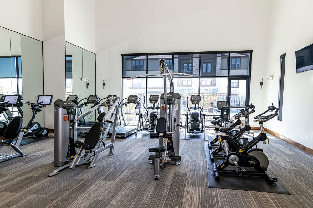 Cardio machines in the fitness center at Twin Creeks Crossing in Allen, Texas