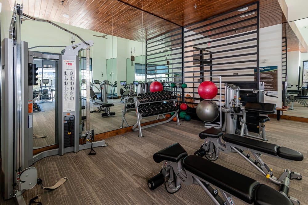 Plenty of exercise machines in the fitness center at Twin Creeks Crossing in Allen, Texas