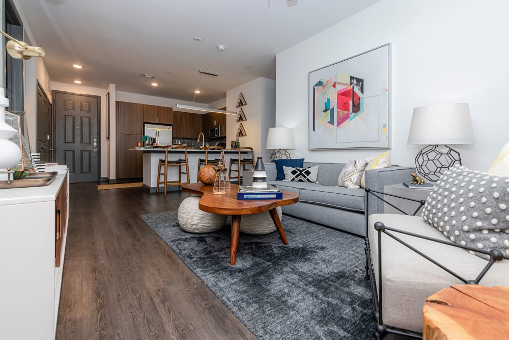 Well-furnished living area in a contemporary model apartment at Twin Creeks Crossing in Allen, Texas