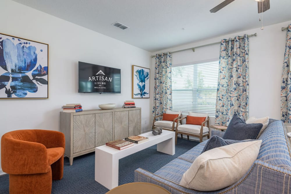 Model family room at Artisan Living Bella Citta in Davenport, Florida