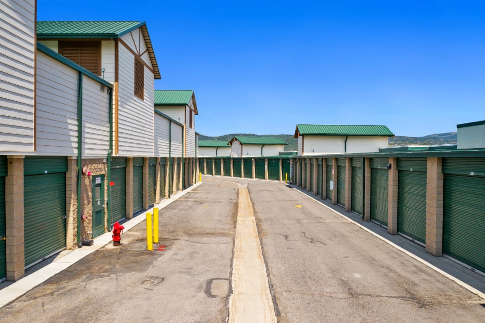 A row displaying multiple units at Market Place Self Storage in Park City, Utah