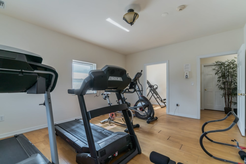 Fitness center for residents at Bunt Commons in Copiague, New York