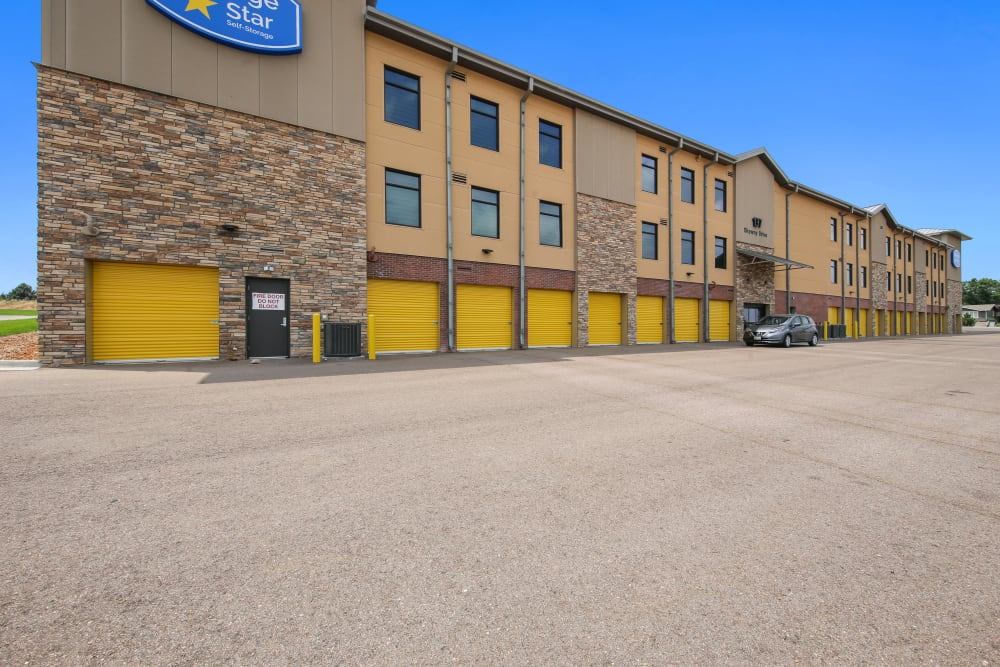Exterior complex view with outside accessed units at Storage Star South College in Fort Collins, Colorado