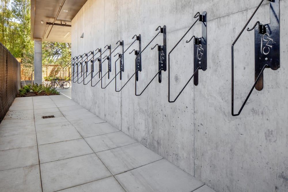 Bike racks for residents at Parallax Apartments in Portland, Oregon