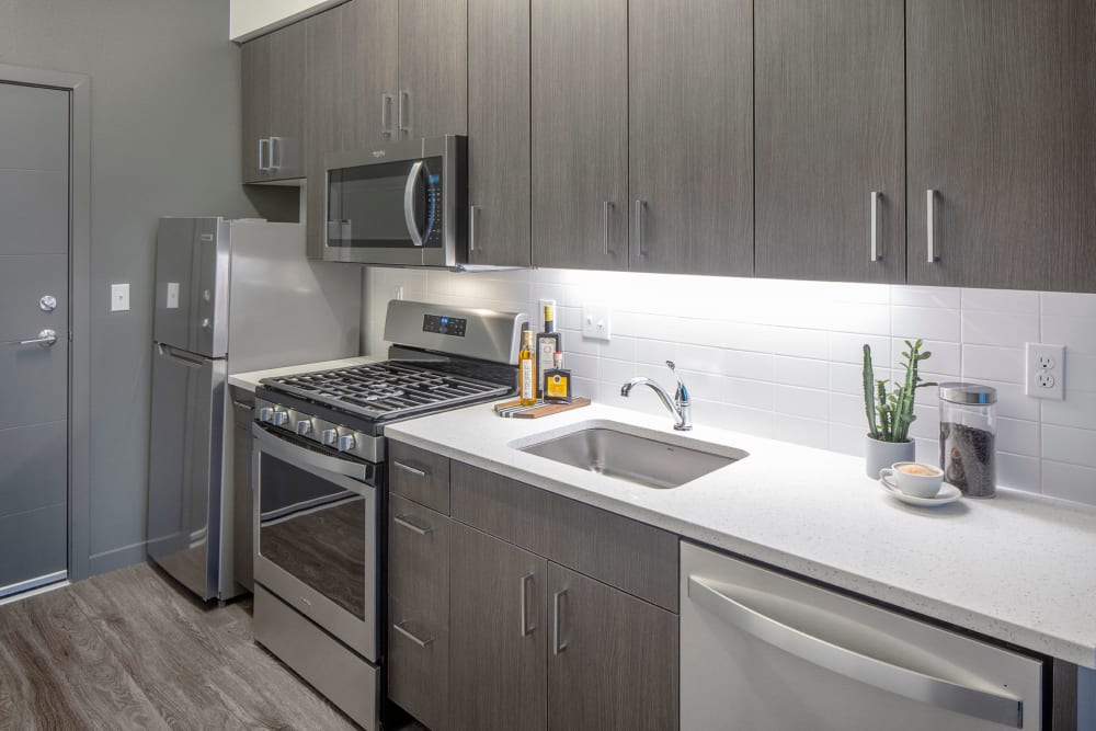 Quartz countertop in kitchen at Parallax Apartments in Portland, Oregon
