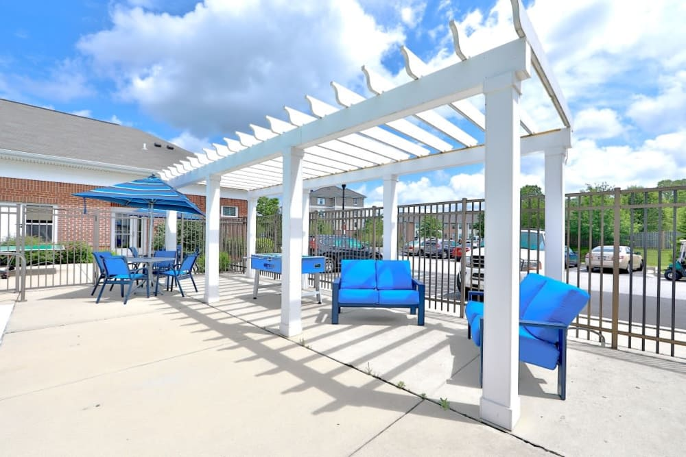 Patio Space at Orchard Meadows Apartment Homes in Ellicott City, Maryland