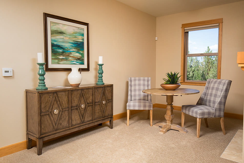 The entrance to residential care at Touchmark at Mount Bachelor Village in Bend, Oregon