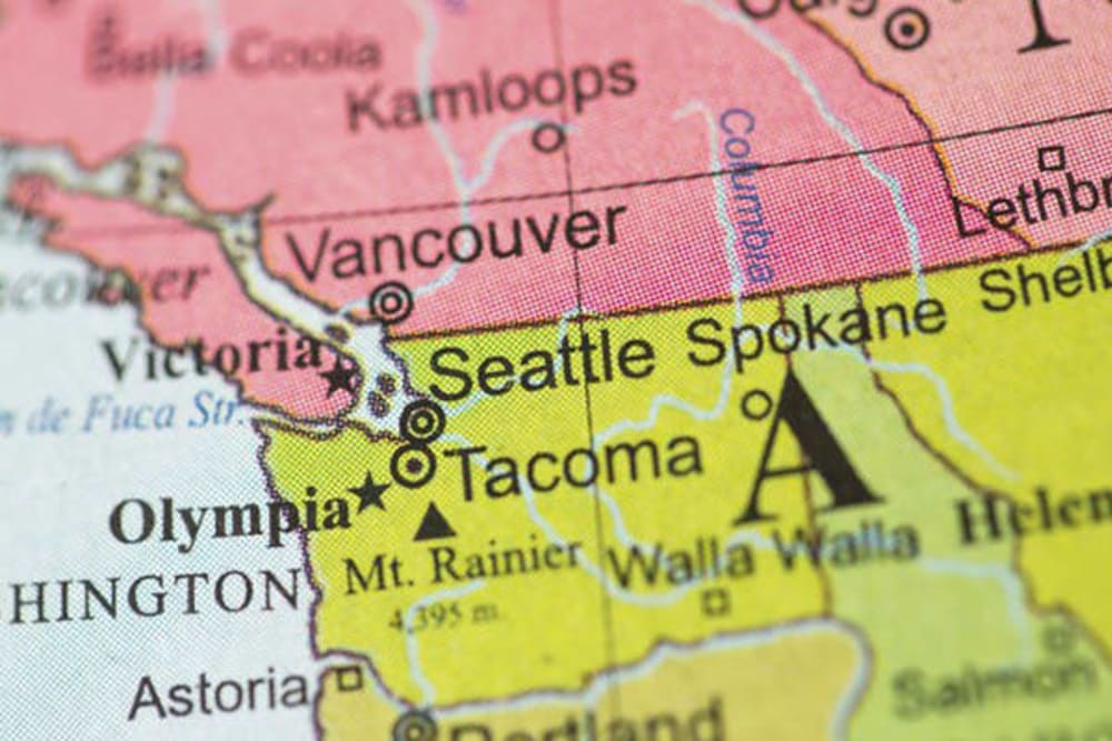 A map where Merrill Gardens at Tacoma is in Tacoma, Washington.