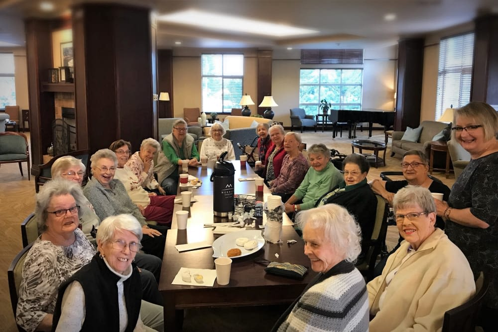 A group of residents out for a meal near Merrill Gardens at Tacoma in Tacoma, Washington.