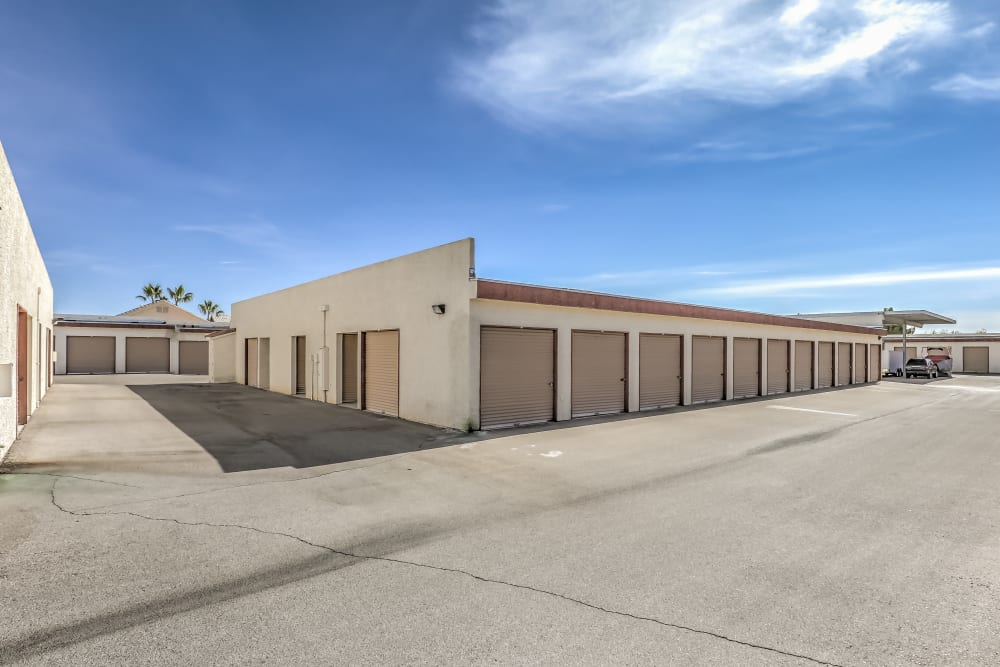 A row of exterior storage units at Crown Self Storage in N Las Vegas, Nevada
