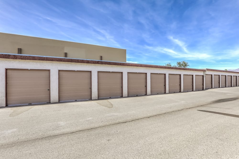 A long row of exterior storage units at Crown Self Storage in N Las Vegas, Nevada
