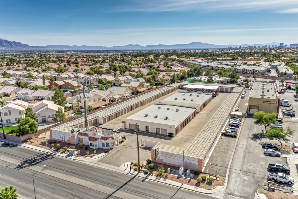 An aerial view of Crown Self Storage and the surrounding area in N Las Vegas, Nevada