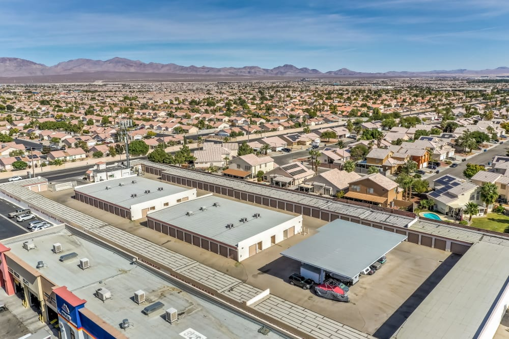 An aerial view of Crown Self Storage with mountains in the background in N Las Vegas, Nevada