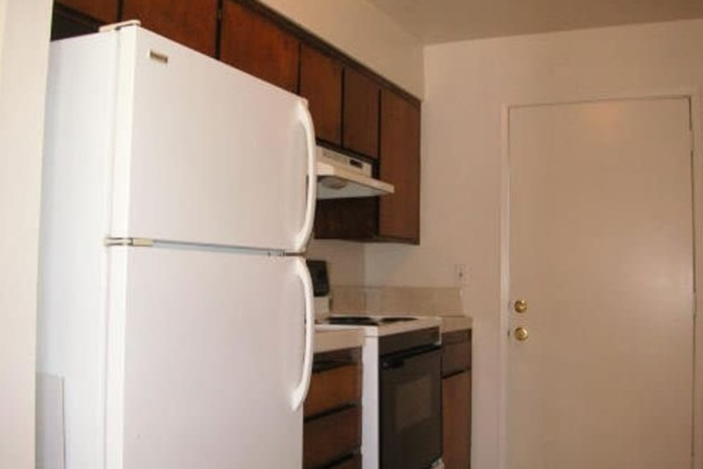 Model kitchen at Olympus Court Apartments in Bakersfield, California