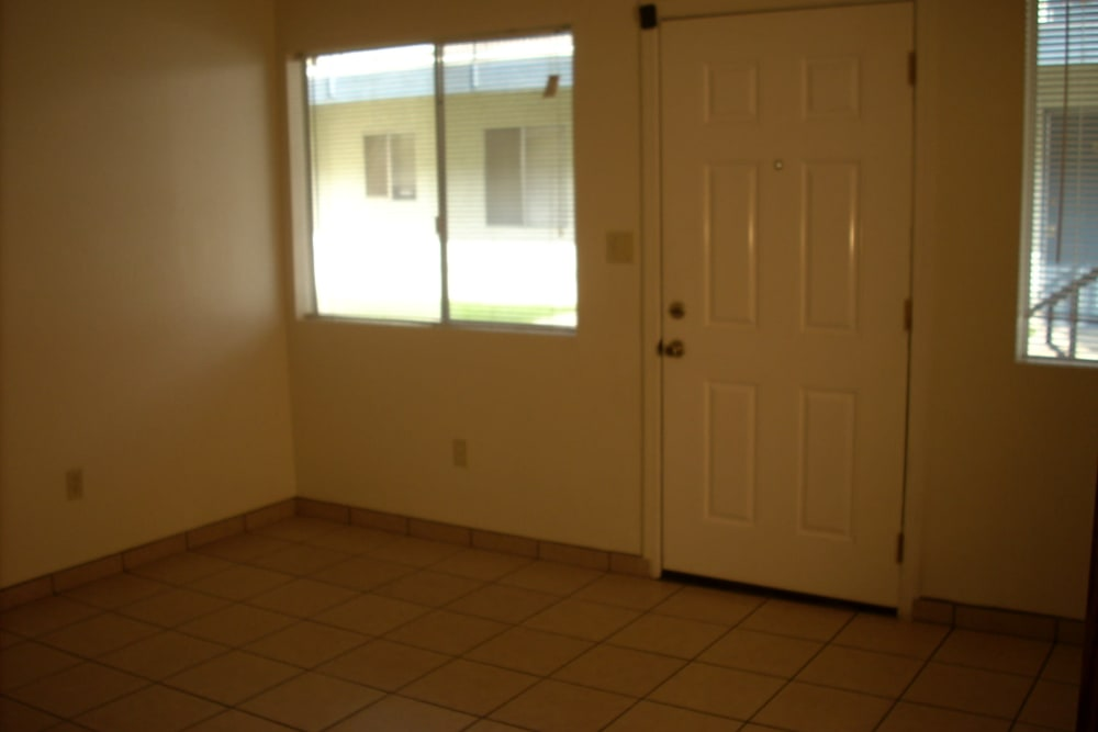 Entryway room of a unit at El Potrero Apartments in Bakersfield, California