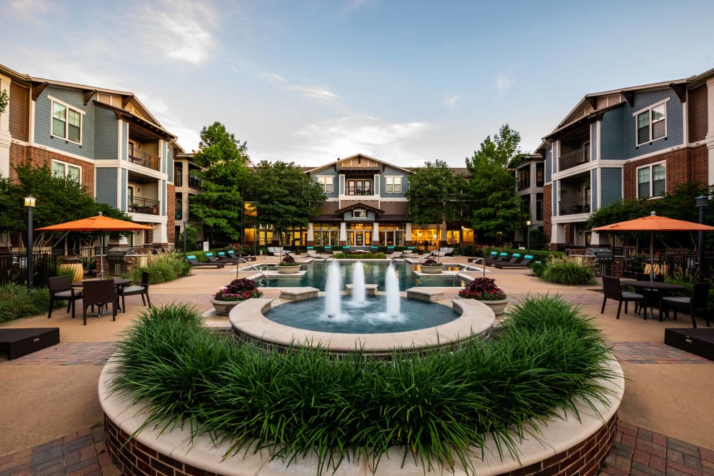 Fountain and exterior of Terrawood in Grapevine, TX