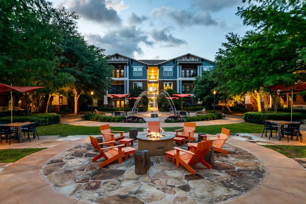 Outdoor seating around fire pit at Terrawood in Grapevine, TX