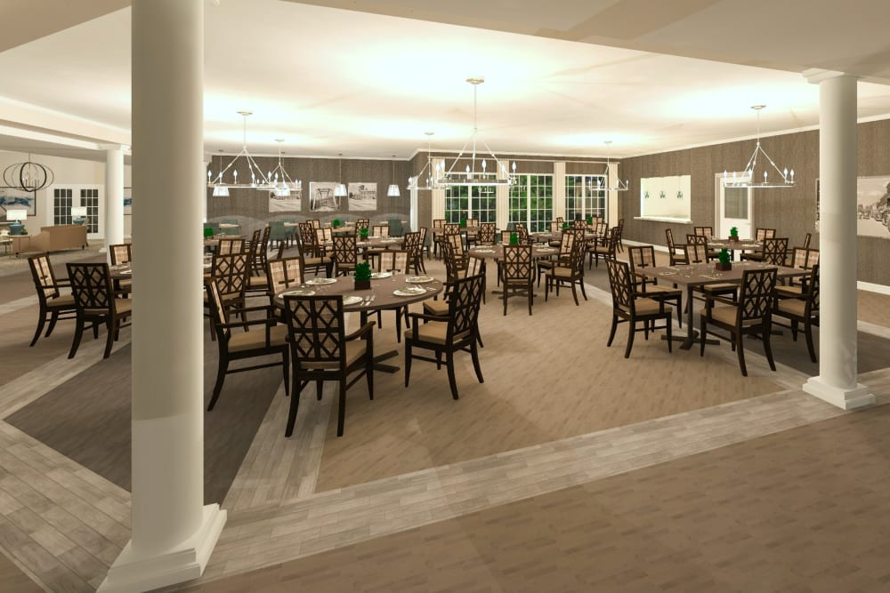 A spacious resident dining room at Boonesboro Trail Senior Living in Winchester, Kentucky.