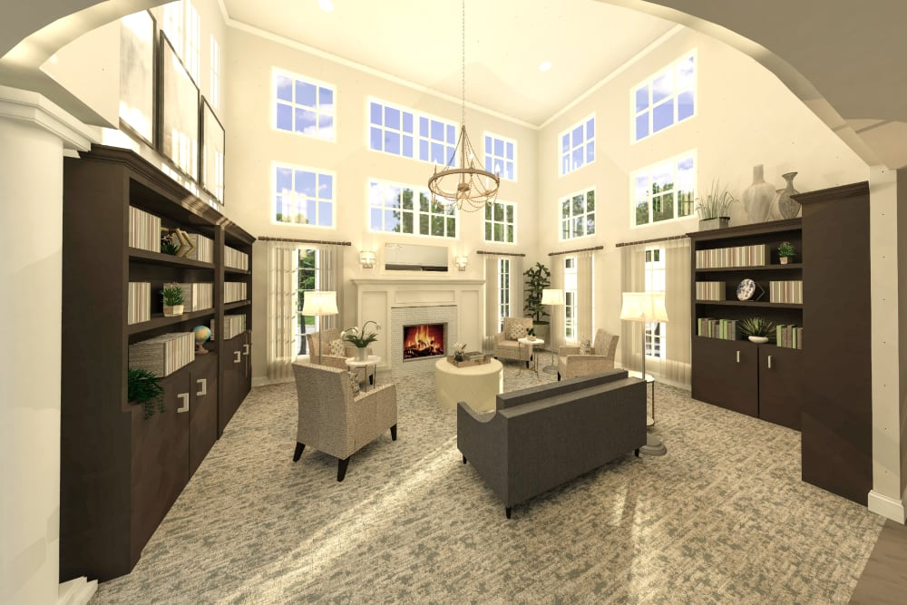 Spacious library at Boonesboro Trail Senior Living in Winchester, Kentucky.