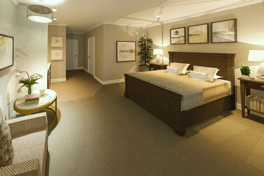 A model resident bedroom at Boonesboro Trail Senior Living in Winchester, Kentucky.